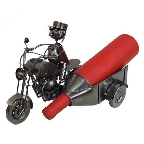 MOTOCICLETA P/GARRAFA METAL 30CM