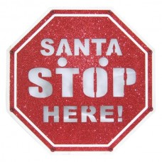 SANTA STOP HERE C/LUZ 25X25X2CM